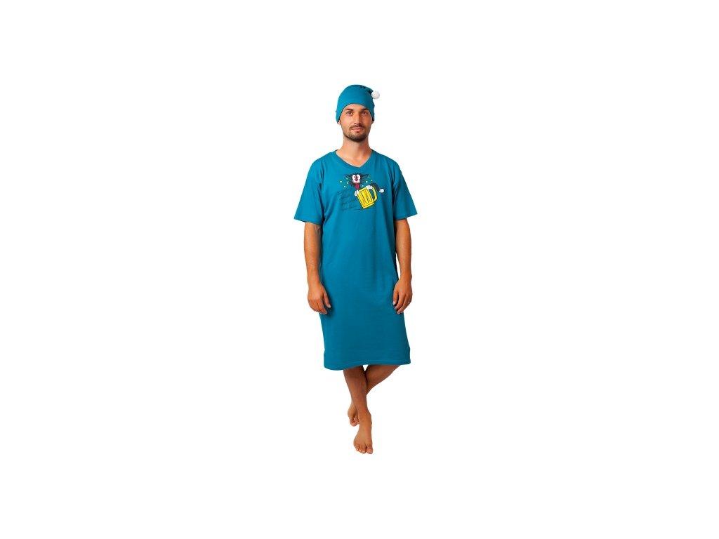 Pánská noční košile CALVI - 20-361 - petrolejová
