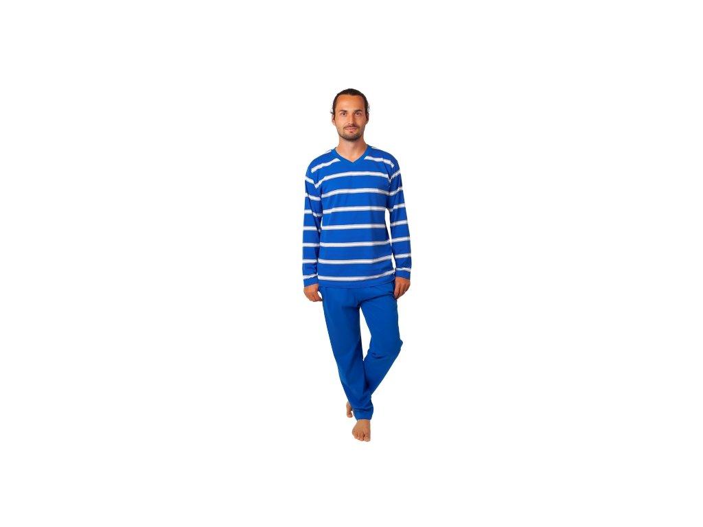 Pánské pyžamo CALVI 20-381 - modré, bílé pruhy
