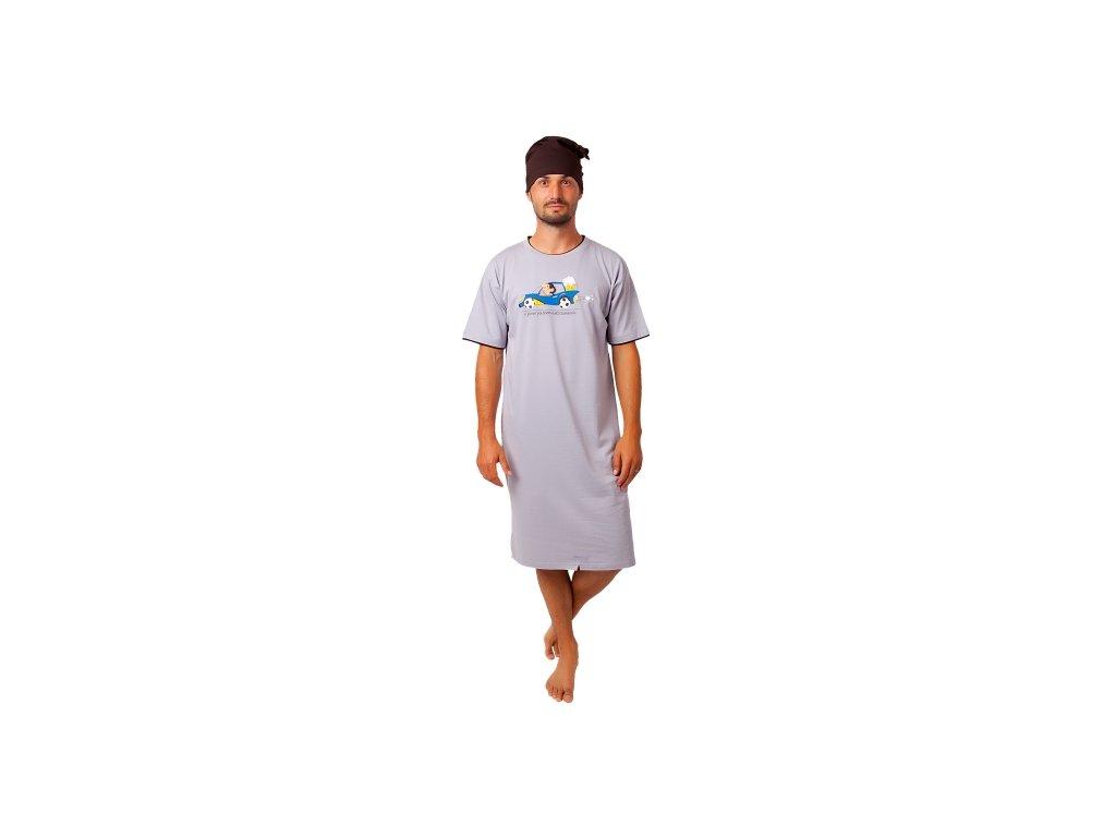Pánská noční košile CALVI - 20-360 - béžová, hnědá