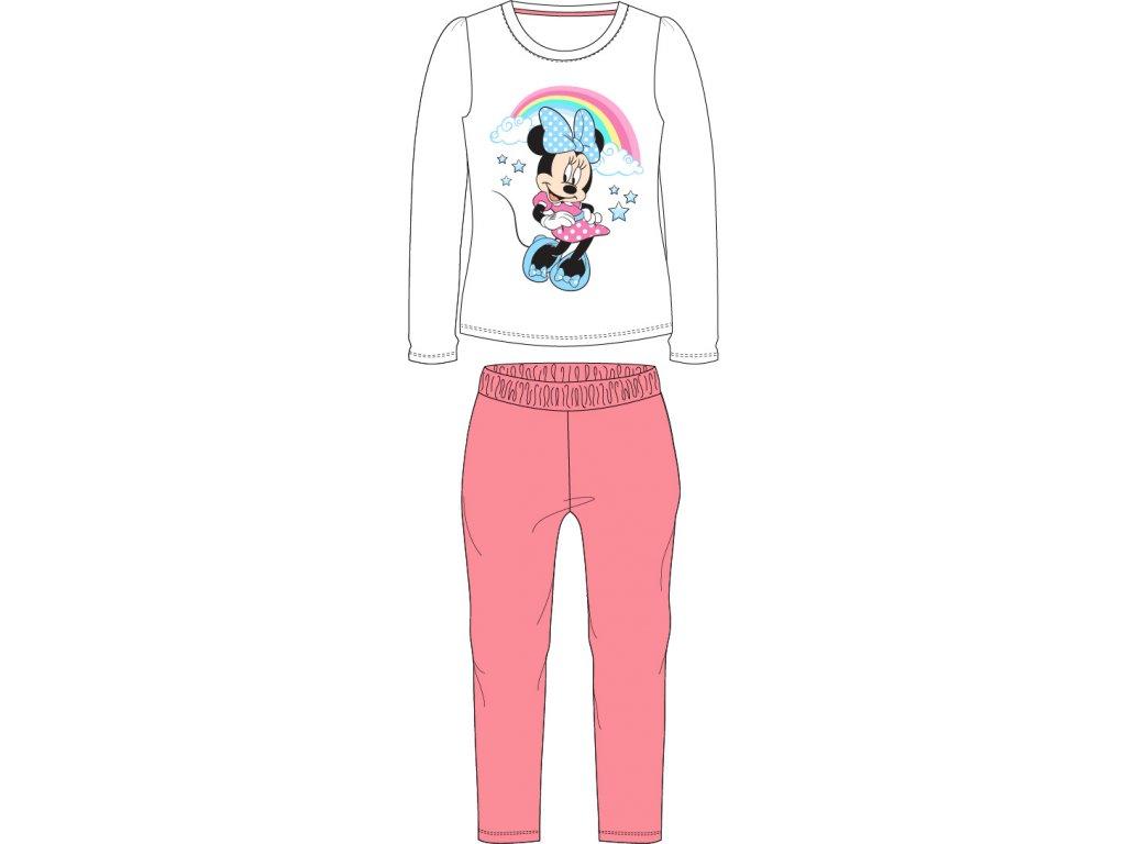 Dívčí pyžamo DISNEY 52045784 - Minnie - bílá,losos