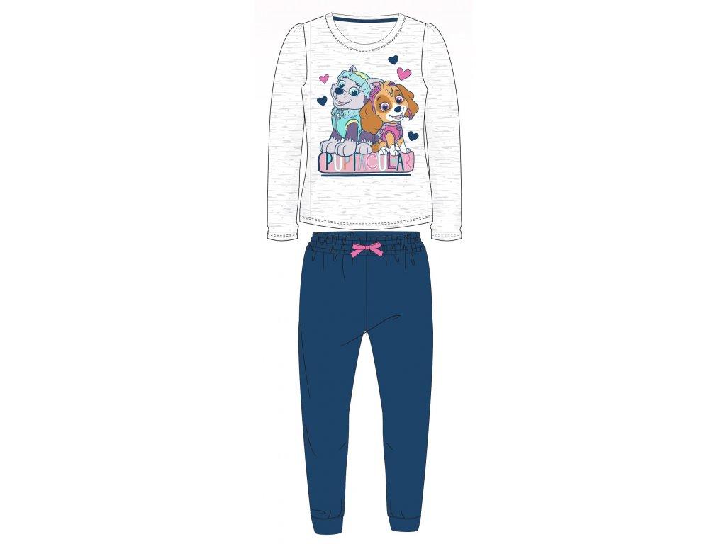 Dívčí pyžamo Tlapková Patrola 52041242 - šedý melír, tm. modrá