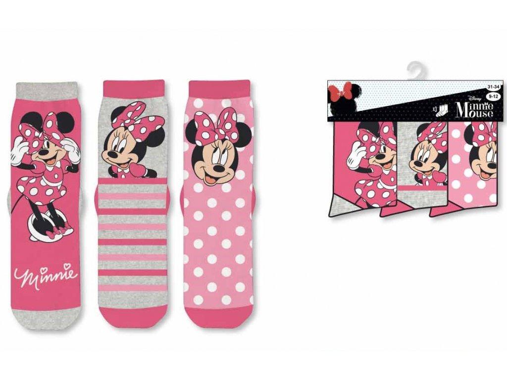 Dětské ponožky MINNIE 3PACK 36648 - růžové, mix