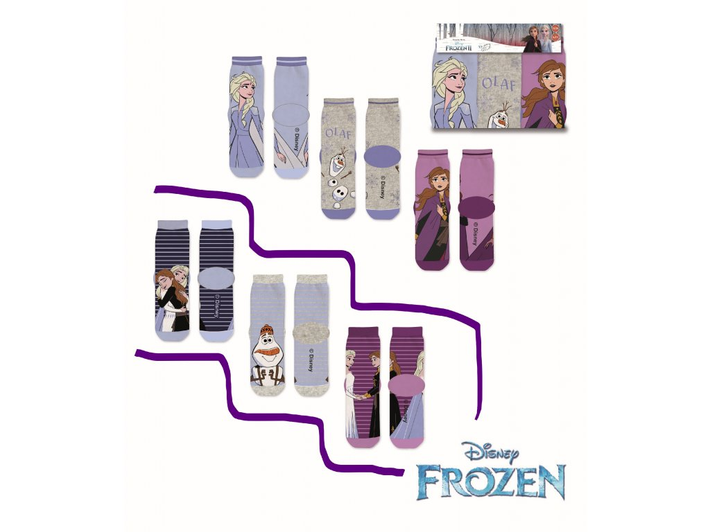 Dětské ponožky FROZEN 3PACK 37033 - pruhy, mix barev