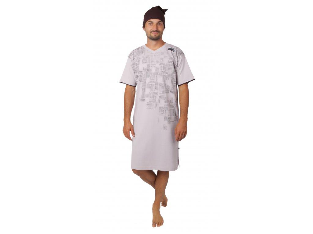 Pánská noční košile CALVI - 20-359 - béžová, hnědá