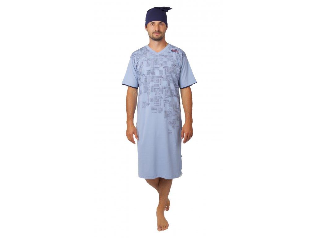 Pánská noční košile CALVI - 20-359 - sv. modrá, tm. modrá