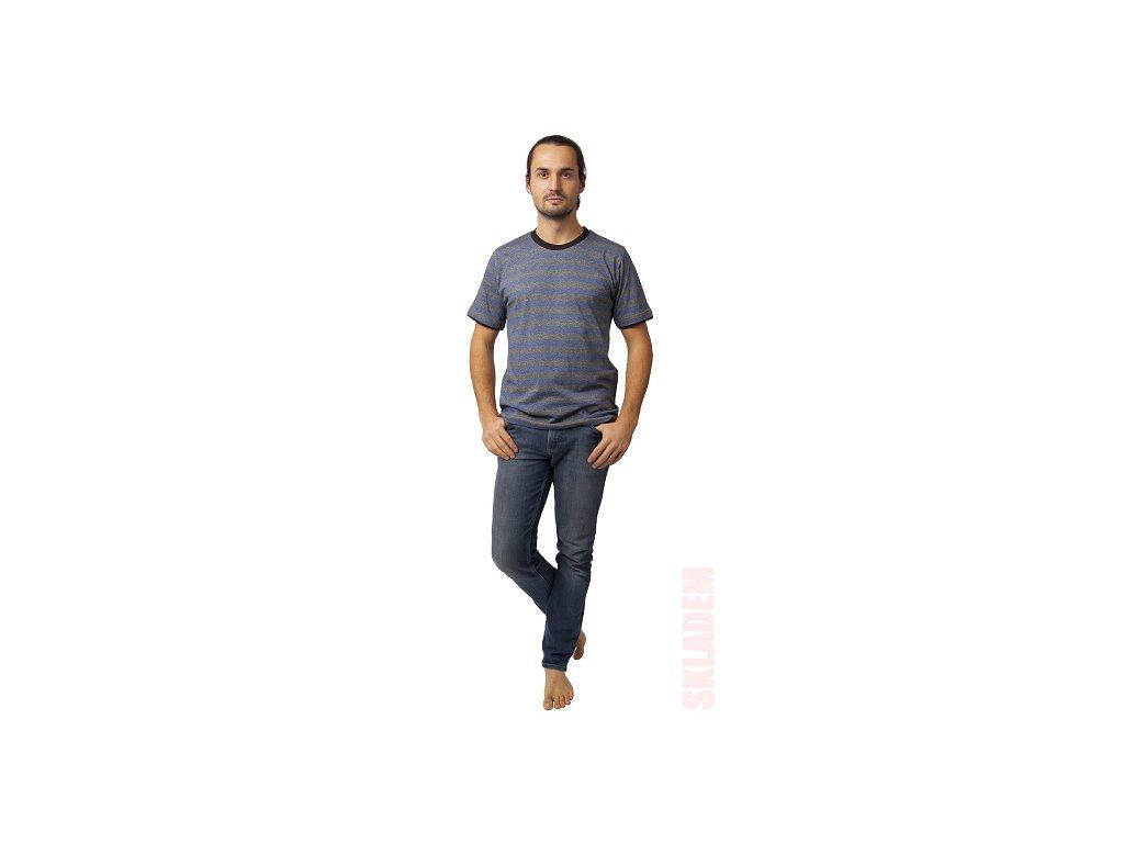 Pánské triko CALVI 20-075 - modrá/šedá,  pruh