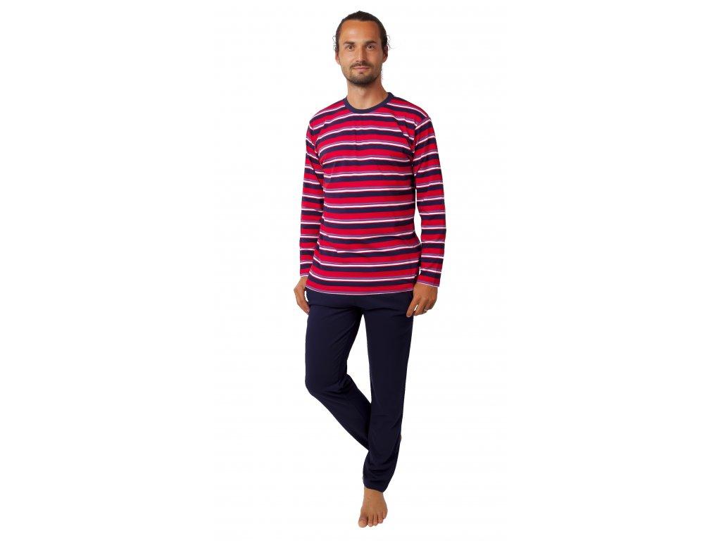Pánské pyžamo CALVI 20-384 - tm. modrá/červená