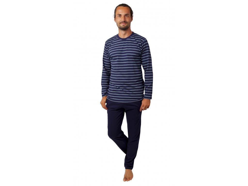 Pánské pyžamo CALVI 20-384 - tm. modrá