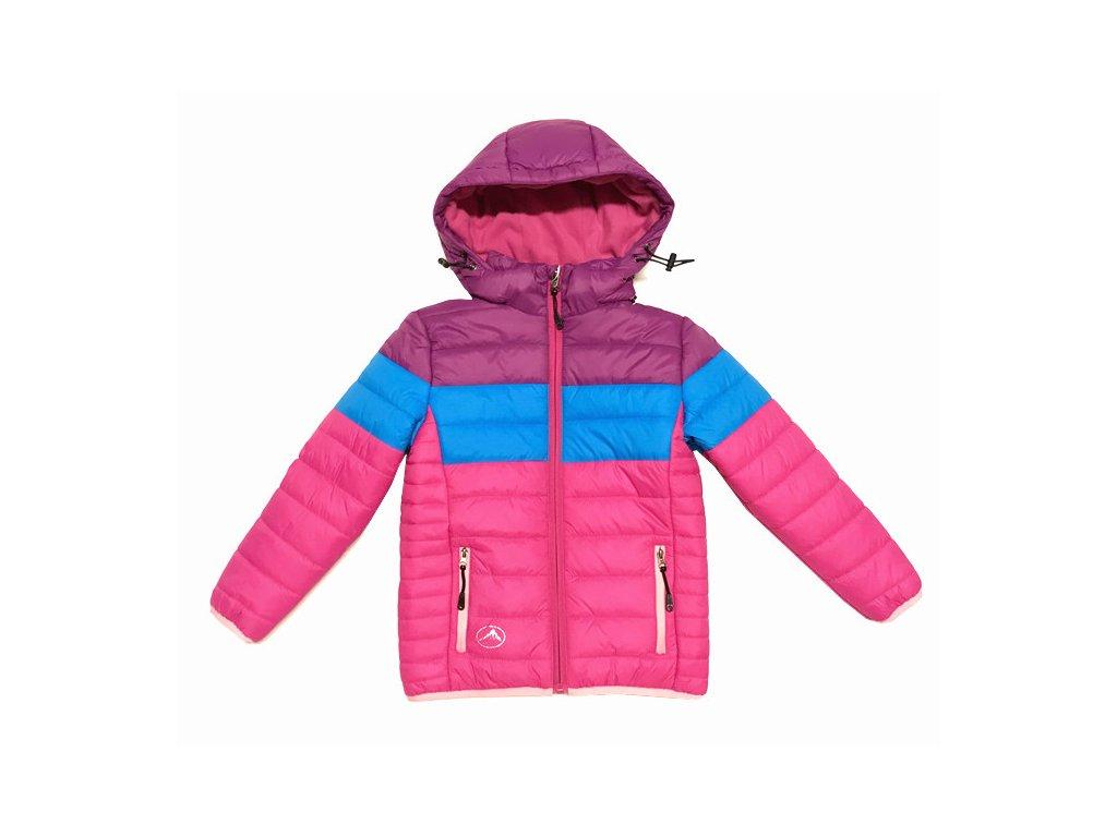 Dívčí zimní bunda KUGO B9901 - růžová AKČNÍ CENA (Velikost 128)