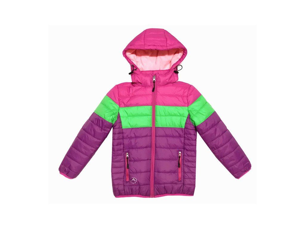Dívčí zimní bunda KUGO B9901 - fialová AKČNÍ CENA (Velikost 128)