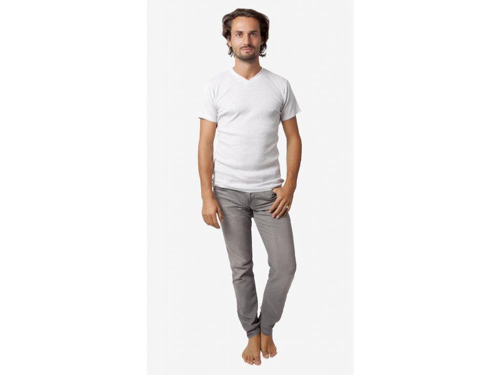 Pánské triko CALVI 18-420 - sv. šedý melír (Velikost XXL)