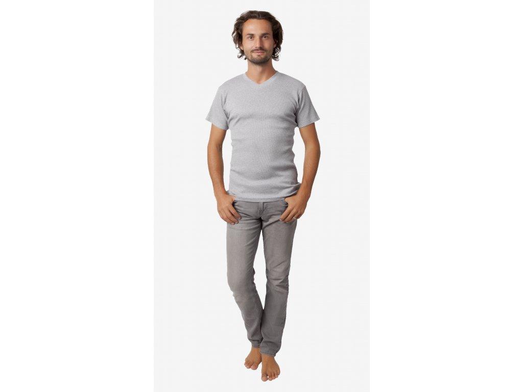 Pánské triko CALVI 18-420 - tm. šedý melír (Velikost XXL)