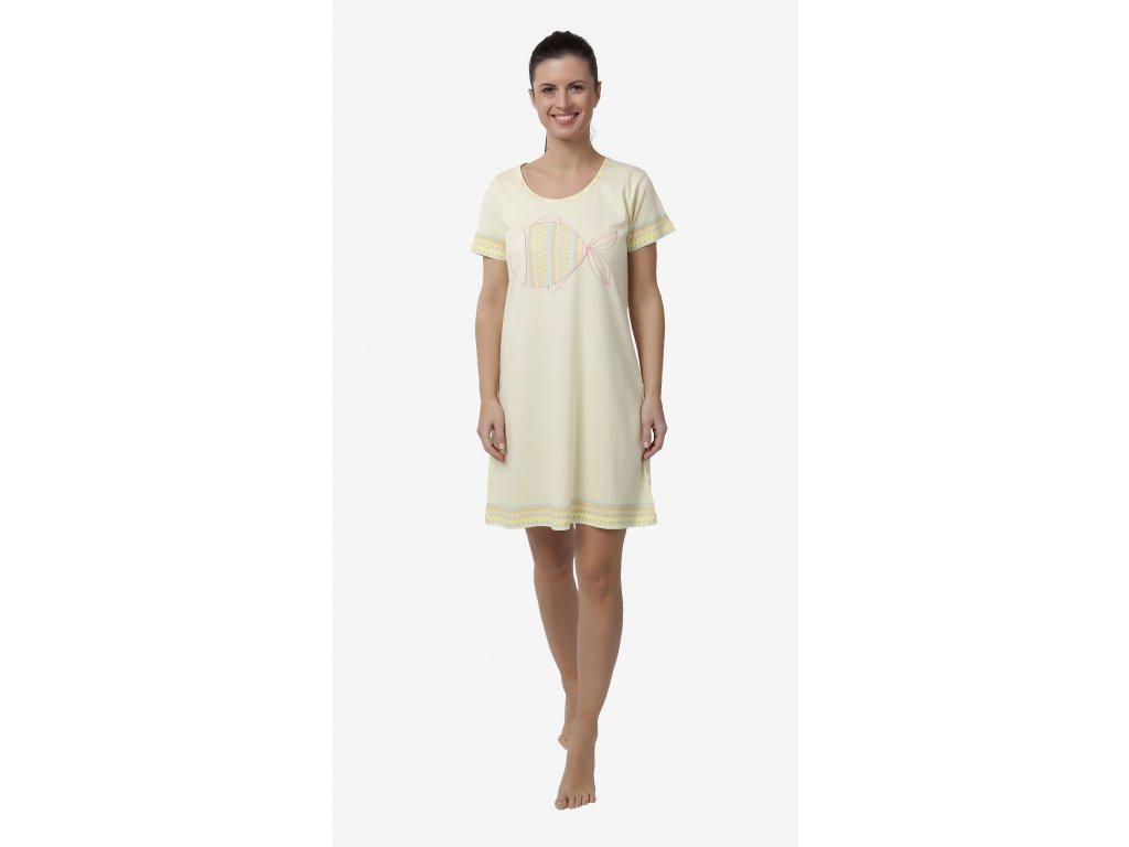 Dámská noční košile CALVI 18-153 - žlutá (Velikost XL)