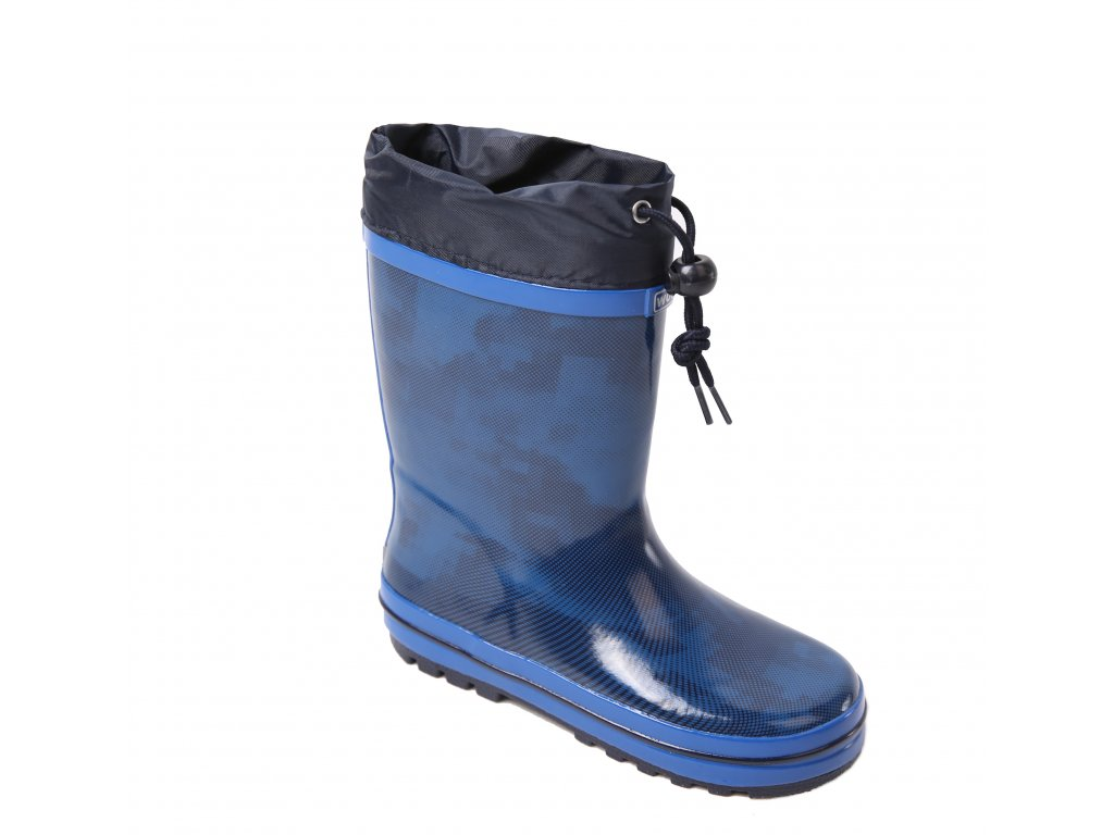 Dětské holínky WOLF Y2102B - tm. modré, vzor