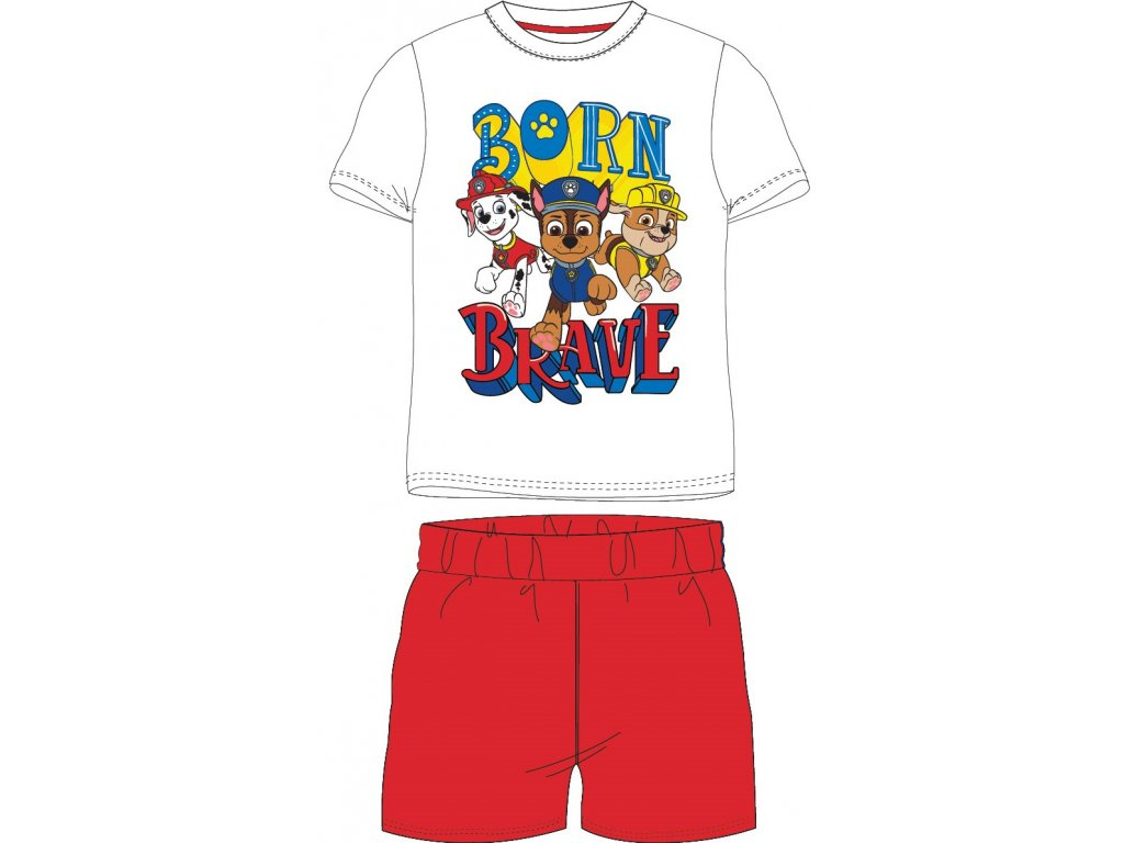 Dětské pyžamo TLAPKOVÁ PATROLA 52041411 - bílá/červený melír
