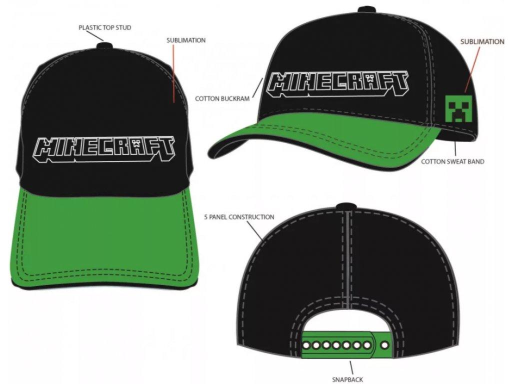 Dětská kšiltovka MINECRAFT 40330 - černá/zelený kšilt