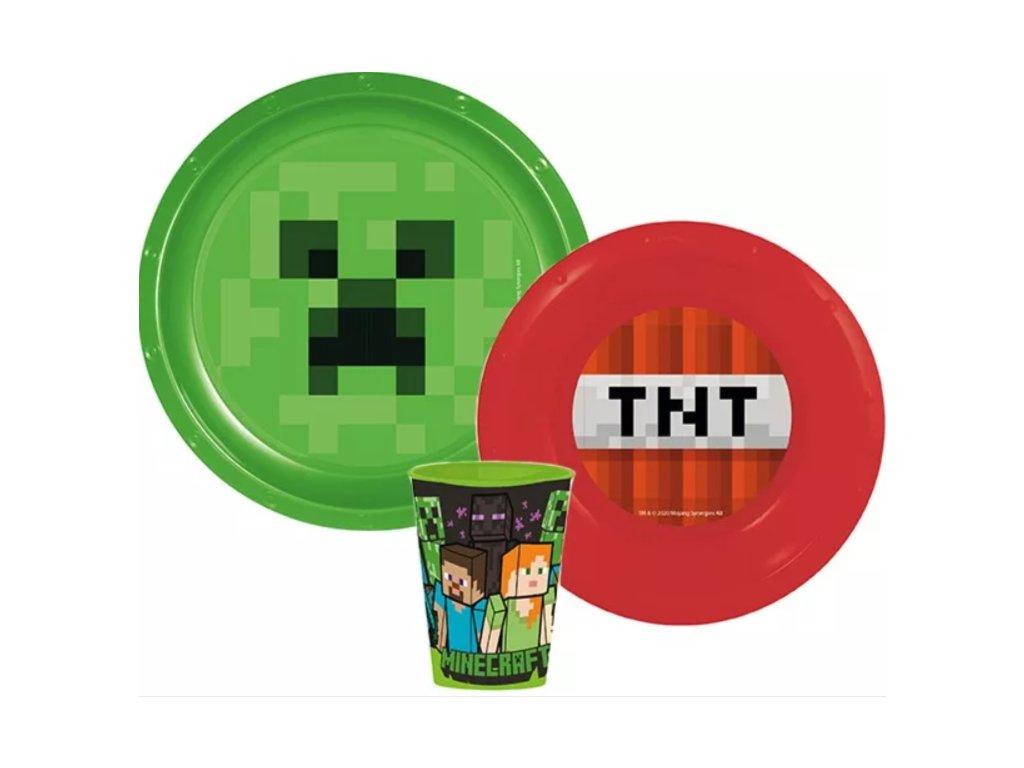 Jídelní set MINECRAFT TNT s kelímkem 55552 - zelená/červená