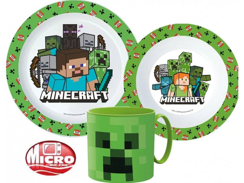 Jídelní set MINECRAFT TNT s hrnkem 33337 - zelená/bílá