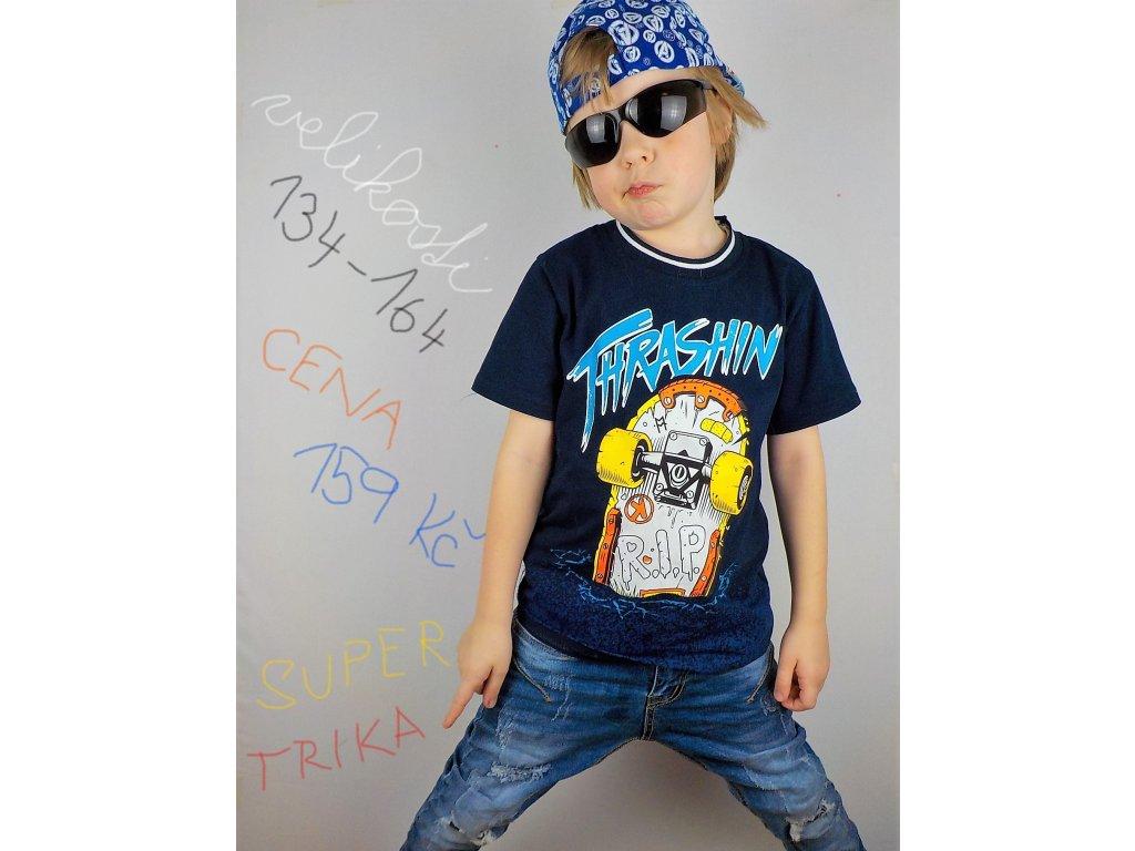 Chlapecké triko KUGO K9803 - tm. modré (Velikost 164)