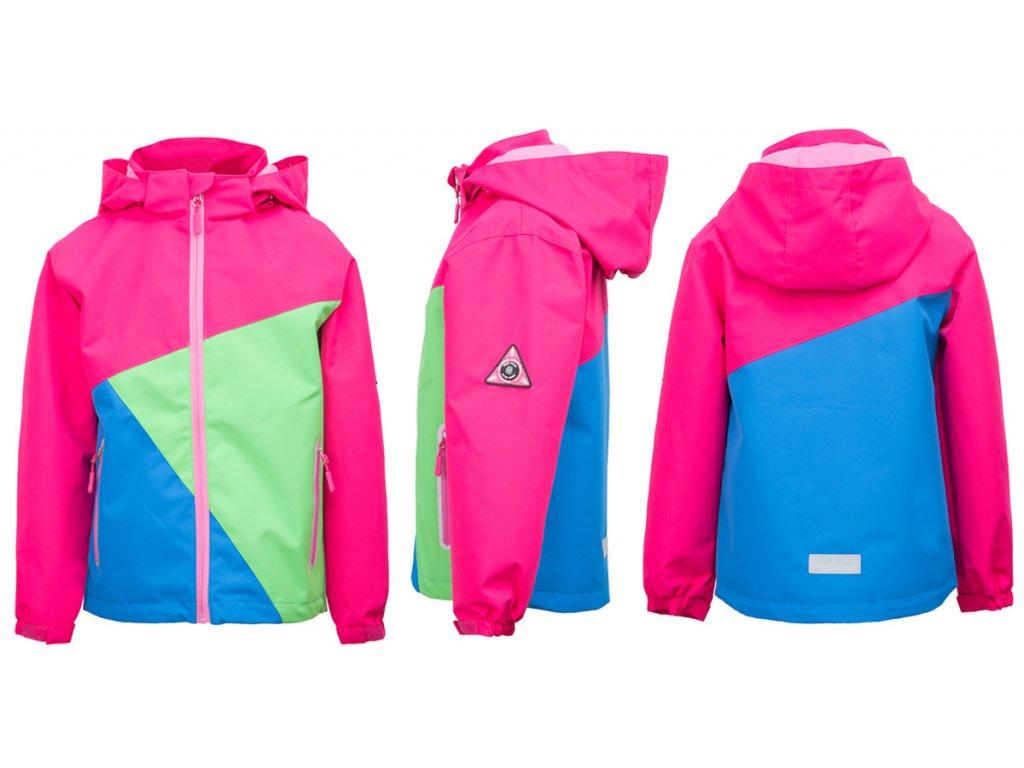 Dívčí softshellová bunda KUGO B3027 - růžová (Velikost 122)