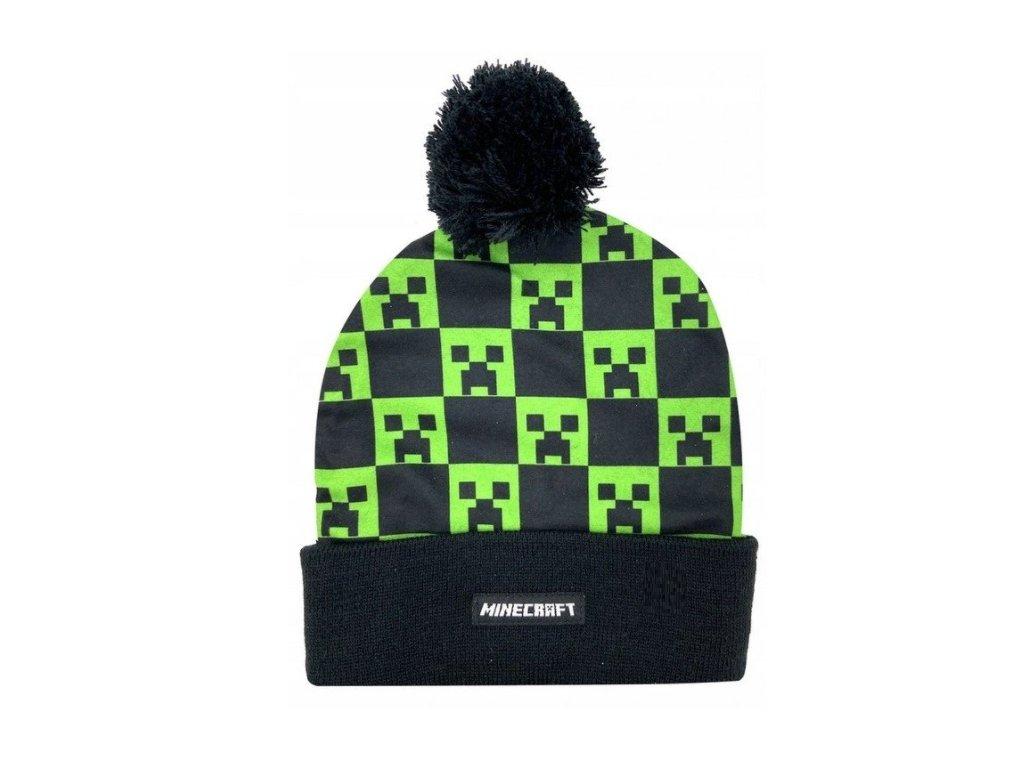 Zimní čepice MINECRAFT 152387 - černá/zelená