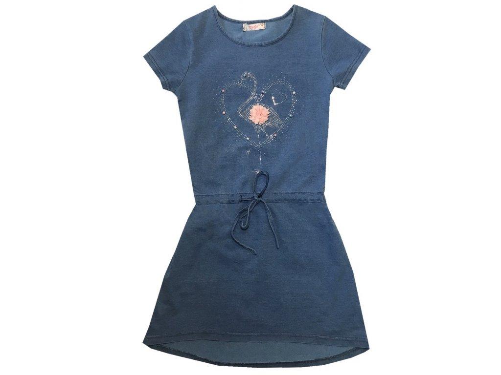 Dívčí šaty KUGO K766 - riflový design, modré - pelikán (Velikost 158/164)
