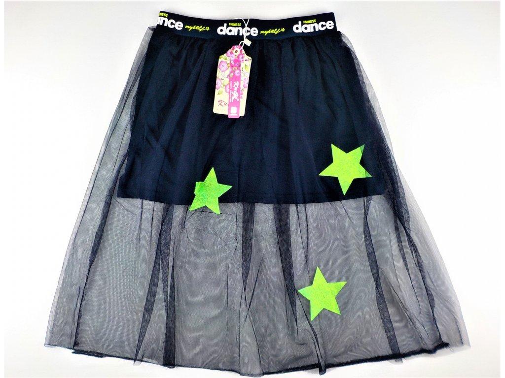 Dívčí sukně KUGO S-3231 - modrá, zelené hvězdy (Velikost 164)