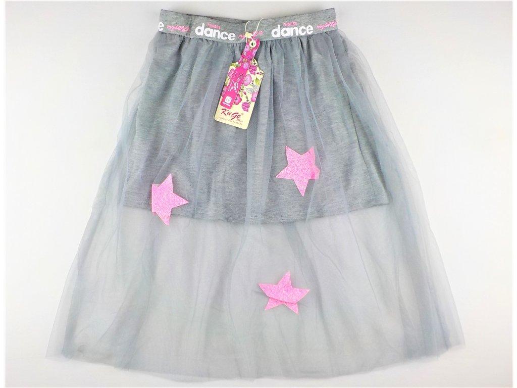 Dívčí sukně KUGO S-3231 - šedá, růžové hvězdy (Velikost 164)