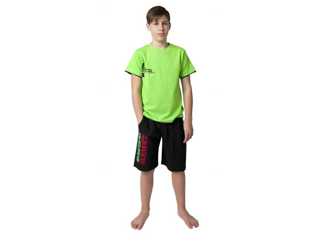Chlapecké bermudy Calvi 19-003 - černé, zeleno-červený nápis (Velikost 160)
