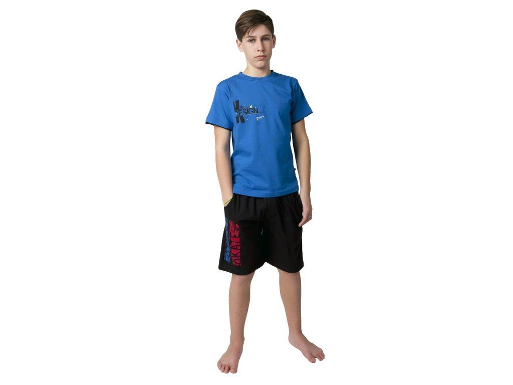 Chlapecké bermudy Calvi 19-003 - černé, modro-červený nápis (Velikost 160)