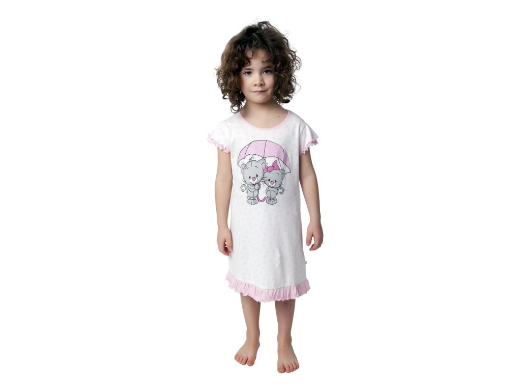 Dívčí noční košile Calvi 19-061 - růžová s potiskem (Velikost 130)