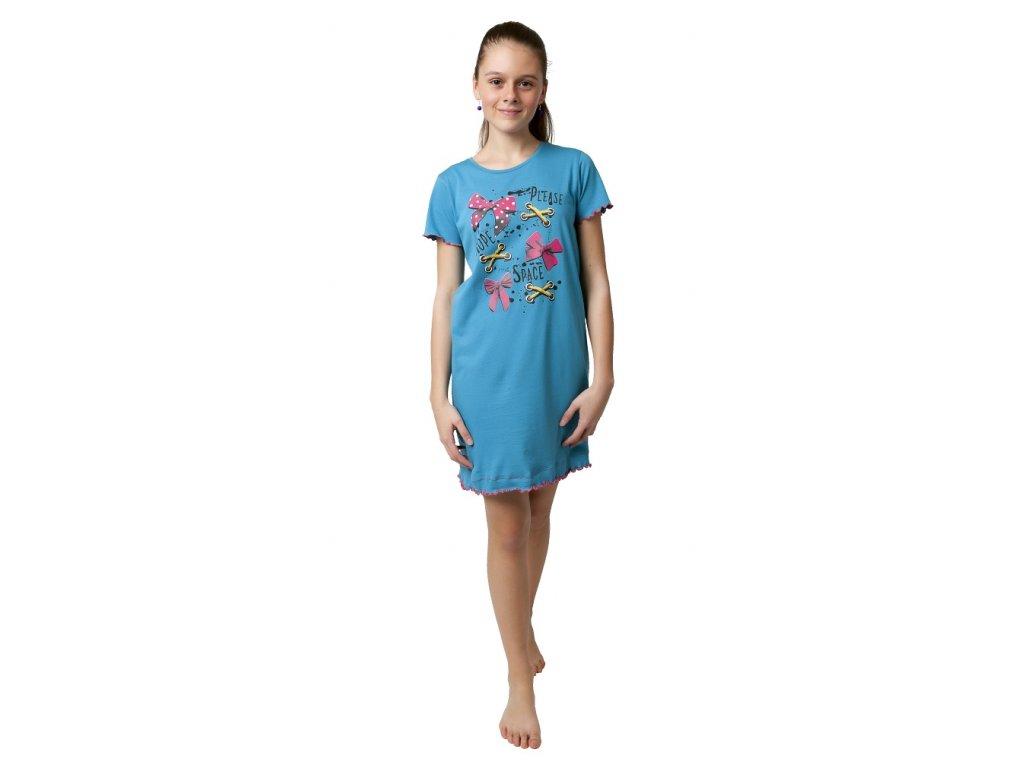 Dívčí noční košile Calvi 19-110 - modrá, mašle (Velikost 170)