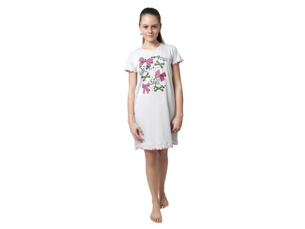 Dívčí noční košile Calvi 19-110 - sv. šedá, mašle (Velikost 170)