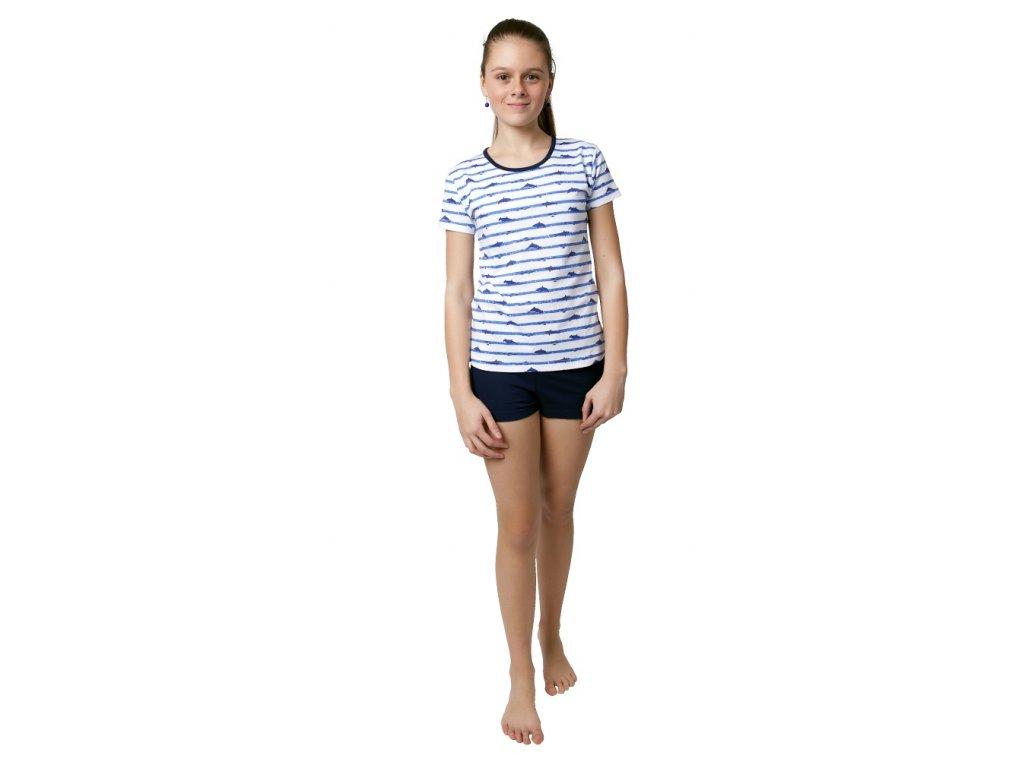 Dívčí pyžamo s kraťasy Calvi 19-104 - modrý pruh (Velikost 160)