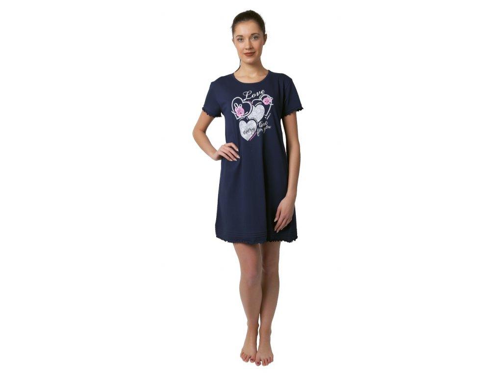Dámská noční košile Calvi 19-044 - tm. modrá (Velikost XL)