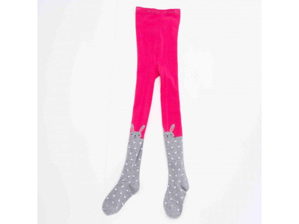 Dívčí punčocháče WOLF P2914 - růžovo-šedé (Velikost 98/104)