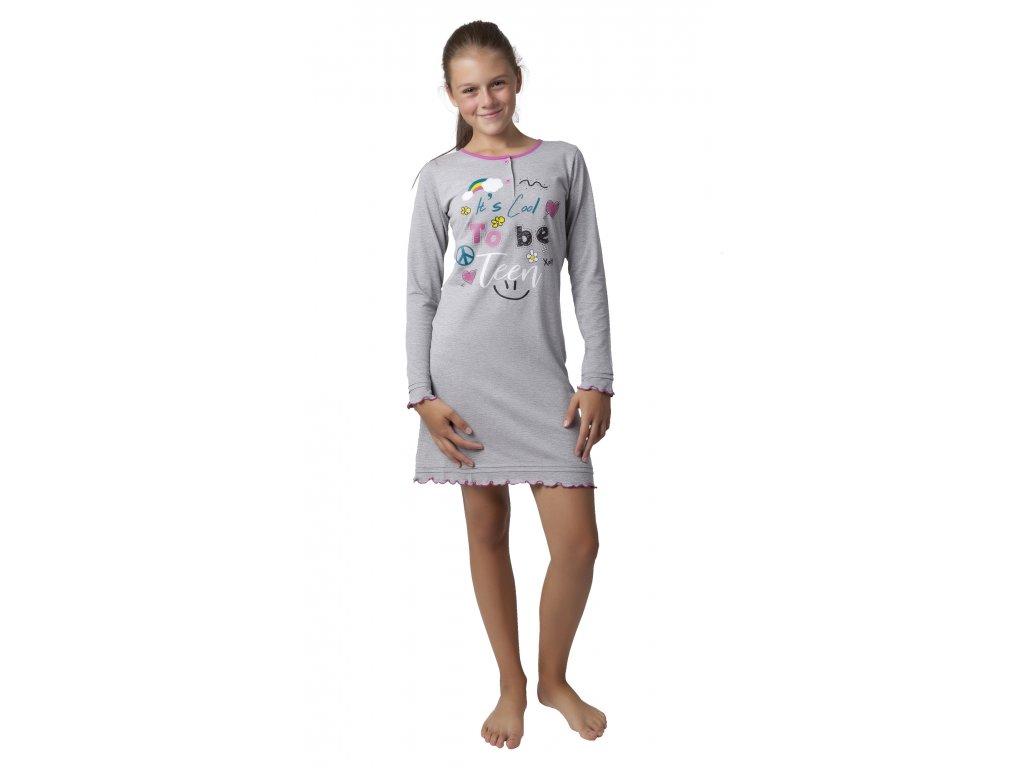 Dívčí noční košile Calvi 18-326 - šedý melír (Velikost 160)
