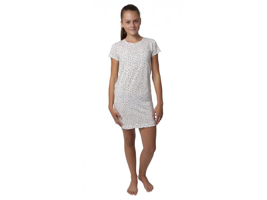 Dívčí noční košile Calvi 19-478 - bílá, puntík (Velikost 160)