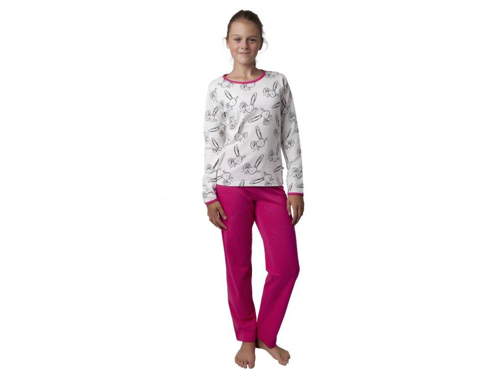 Dívčí pyžamo Calvi 18-330 - bílo-růžové (Velikost 160)