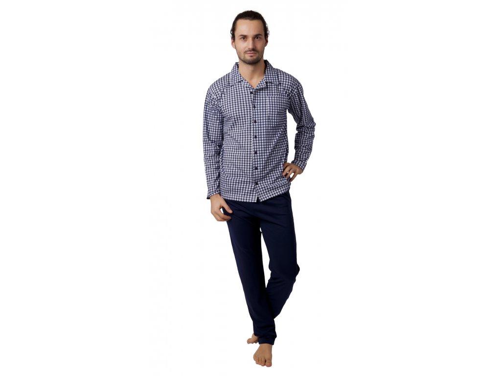Pánské pyžamo Calvi 18-431 - tm. modré, rozepínací (Velikost XXL)