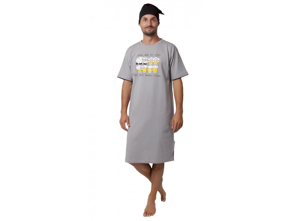 Pánská noční košile CALVI 19-530 - šedá (Velikost XXL)