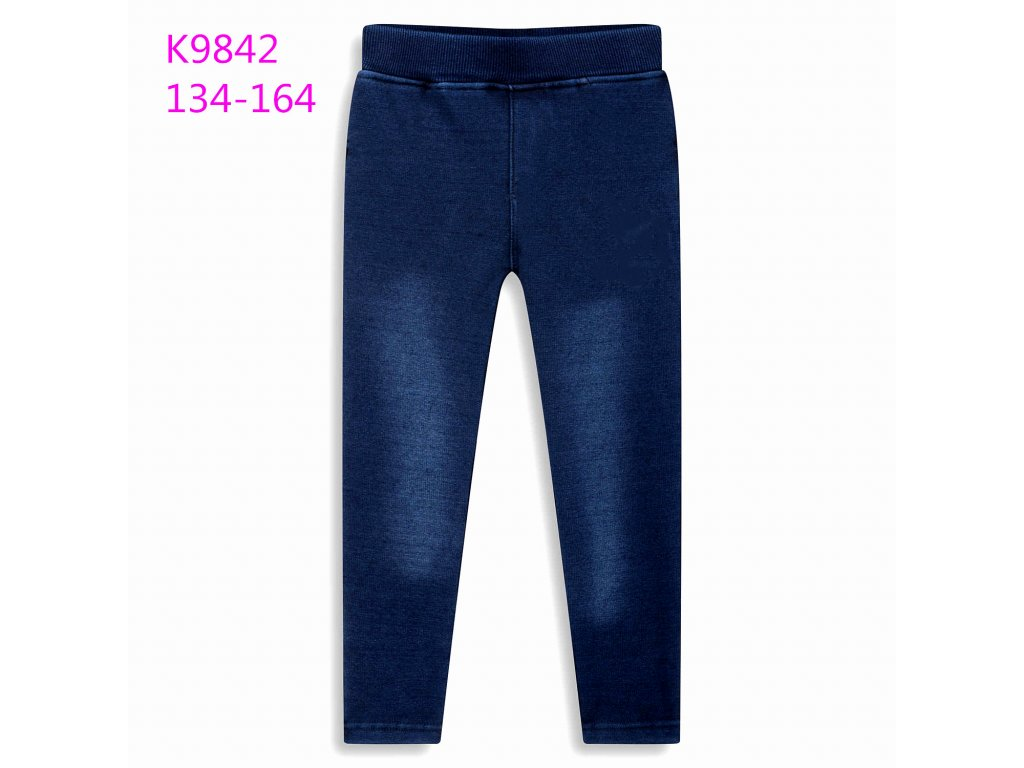Dívčí zateplené legíny KUGO K9842 - modré (Velikost 164)