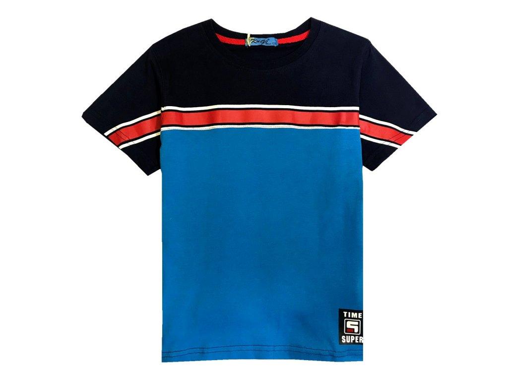 Chlapecké triko KUGO ML-7160 - modré, červený pruh (Velikost 146)