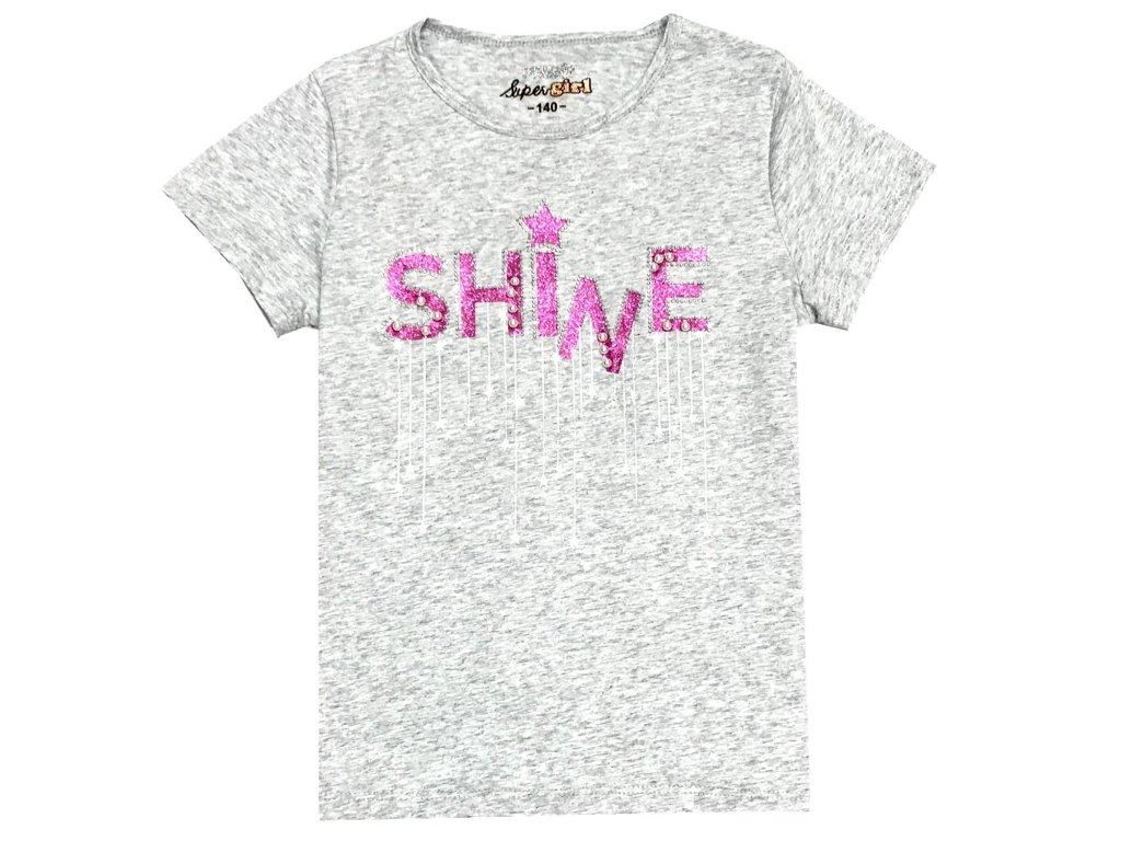 Dívčí triko KUGO S3077 - šedý melír (Velikost 146)