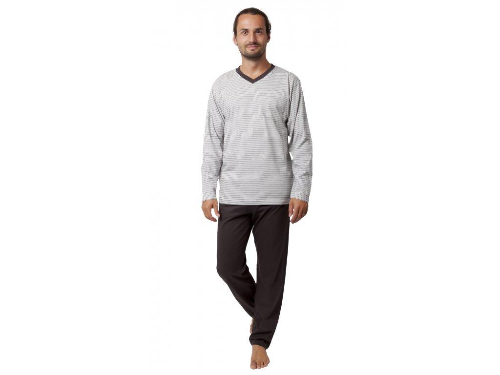 Pánské pyžamo CALVI 19-546 - sv. šedé (Velikost XXL)