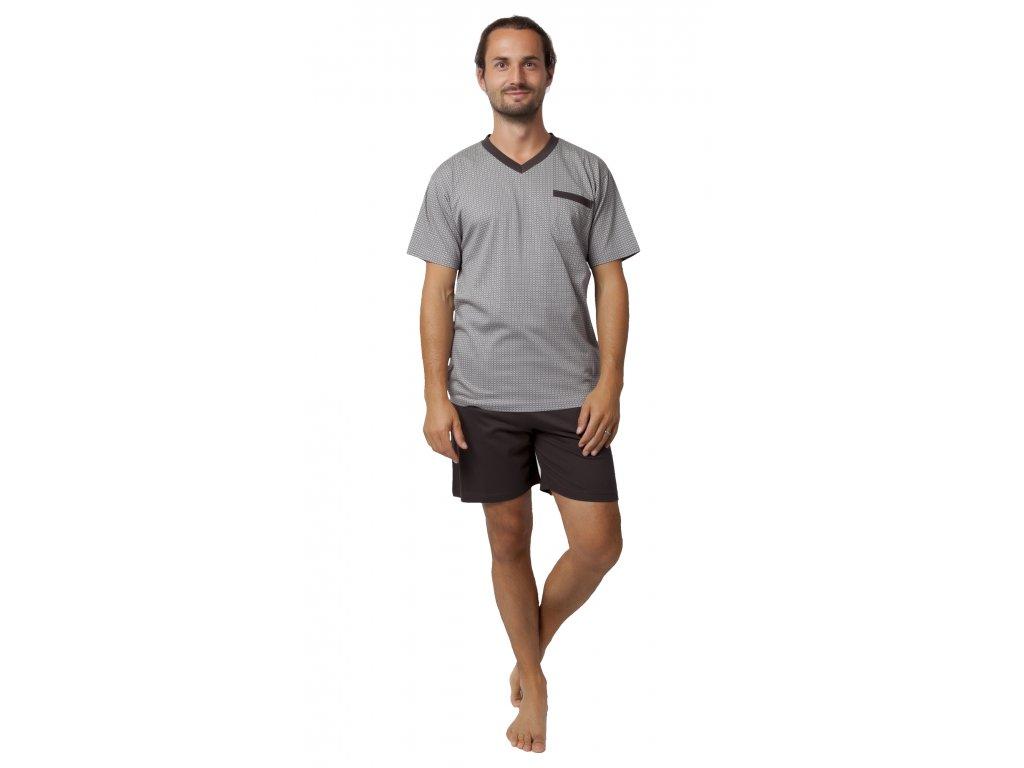 Pánské pyžamo CALVI 19-537 - šedo-hnědé (Velikost XXL)