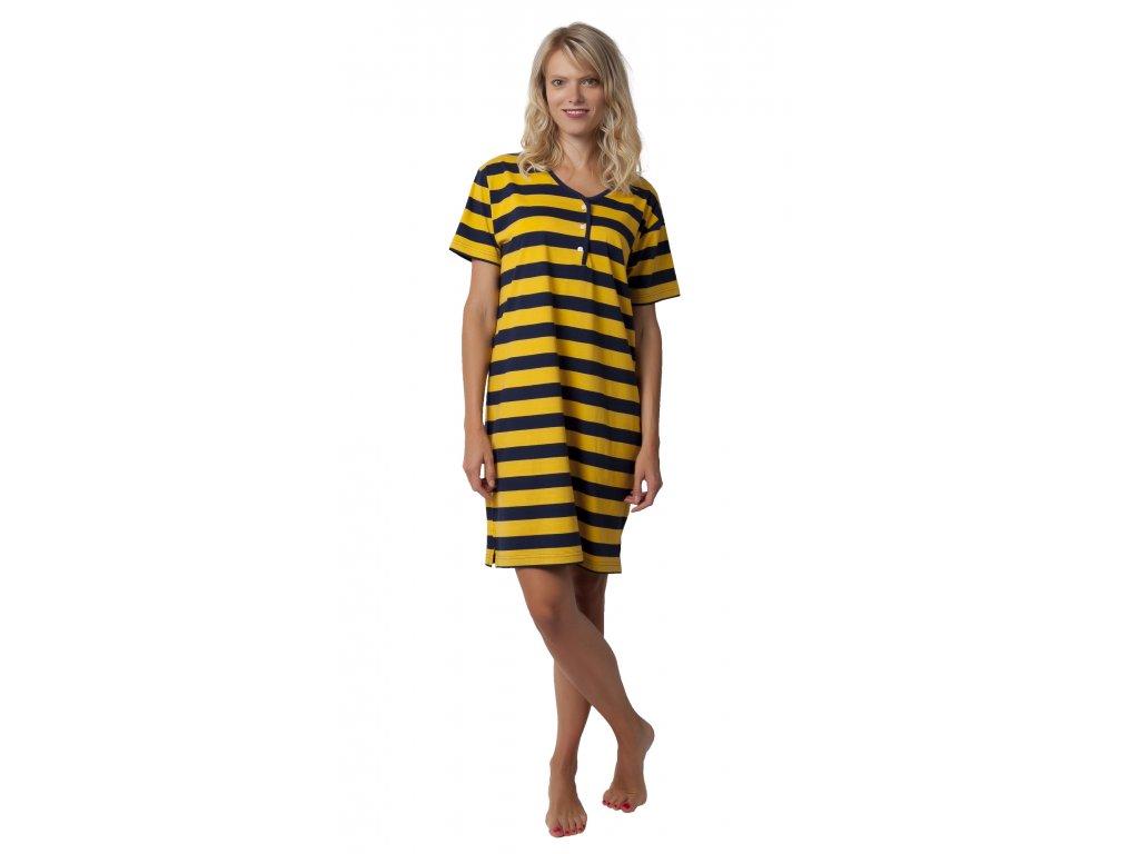 Dámská noční košile CALVI 19-499 - žlutá (Velikost XXL)