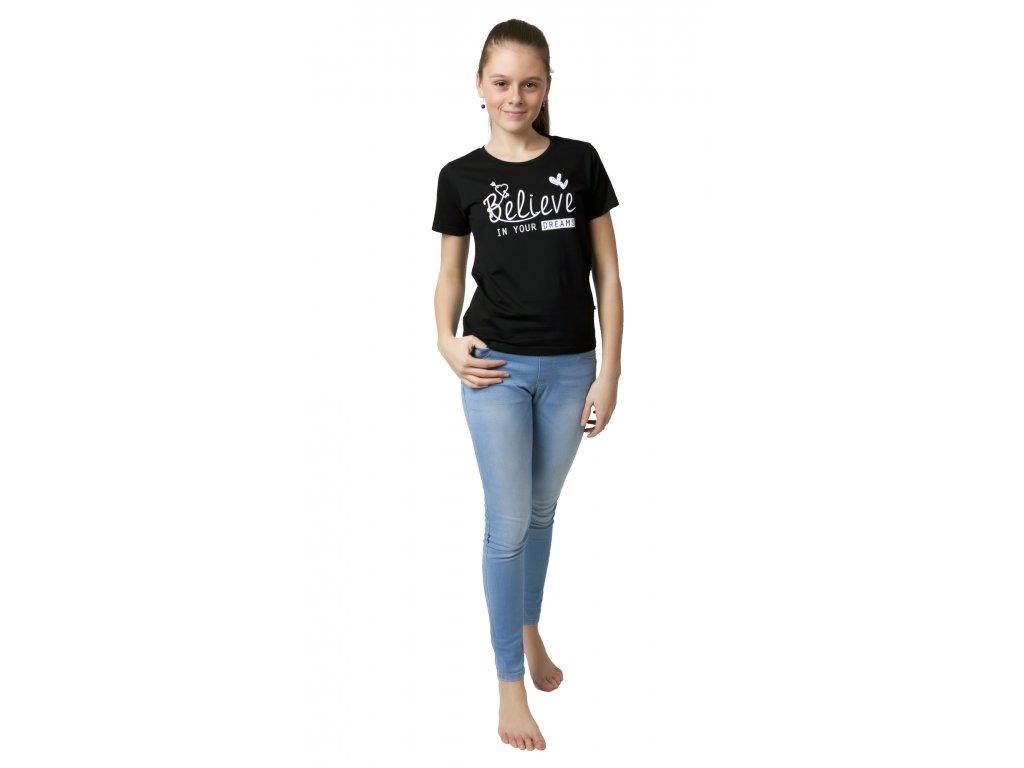Dívčí triko CALVI 19-015 - černé (Velikost 160)
