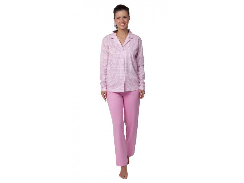 Dámské pyžamo CALVI 18-370 - rozepínací, růžové (Velikost XXL)