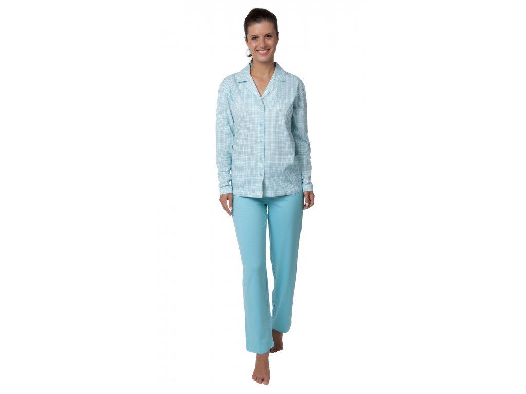 Dámské pyžamo CALVI 18-370 - rozepínací, tyrkysové (Velikost XXL)